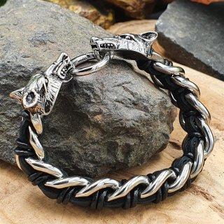 Leder/Edelstahl Armband mit den Wölfen Odins
