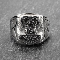 Thors Hammer Ring mit Runen aus Edelstahl