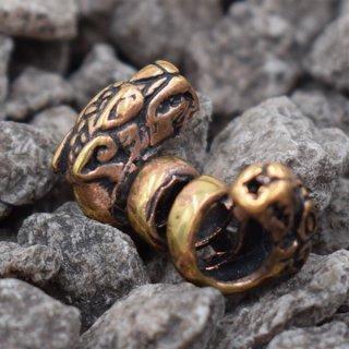 Wolfsköpfe Bartperle aus Bronze