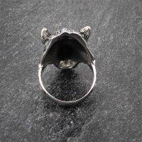 Edelstahlring knurrender Wolf Fenrir 57 (18,5) / 8 US