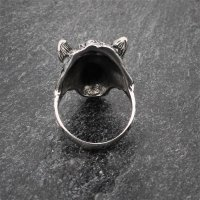 Edelstahlring knurrender Wolf Fenrir 68 (21,6) / 12 US