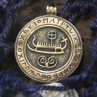 Wikingerschiff im Runenkreis Bronze Schmuck Anhänger
