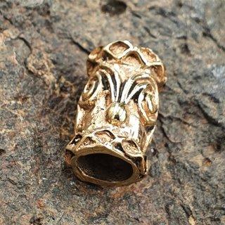 Bartperle mit Spiralen & Rauten aus Bronze