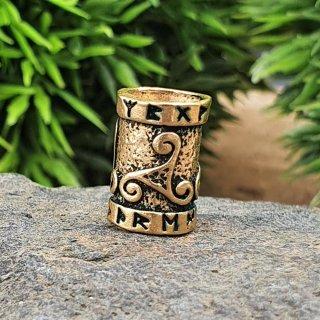 Triskelen Bartperle mit Runen aus Bronze