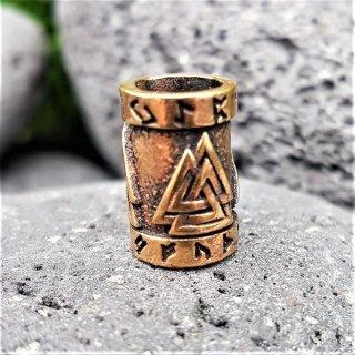 Valknut Bartperle mit Runen aus Bronze