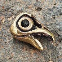 """Bartperle Rabe """"Huginn"""" aus Bronze"""