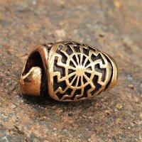 Spiralförmige Bartperle mit schwarzer Sonne aus Bronze