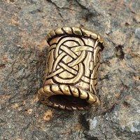 Bartperle mit keltischen Knoten aus Bronze 15 x 12mm