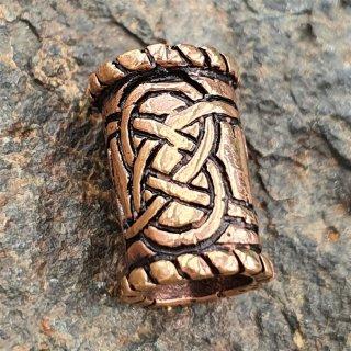 Bartperle mit keltischen Knoten aus Bronze 15 x 9mm