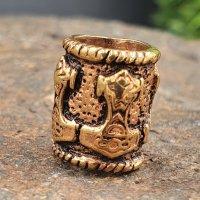 Wikinger Bartperle Thorshammer aus Bronze