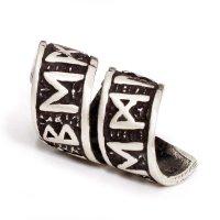 Runenspirale Bartperle aus 925 er Sterling Silber