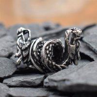 Zweiköpfige Drachen Bartperle aus 925 er Sterling Silber