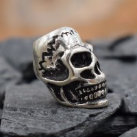 Totenkopf Wikinger Bartperle aus 925 er Sterling Silber