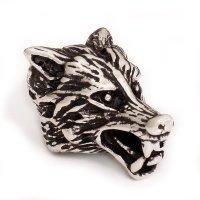 Wolfskopf Bartperle aus 925 er Sterling Silber
