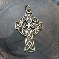 Keltenkreuz Anhänger mit keltischen Knoten, aus Bronze