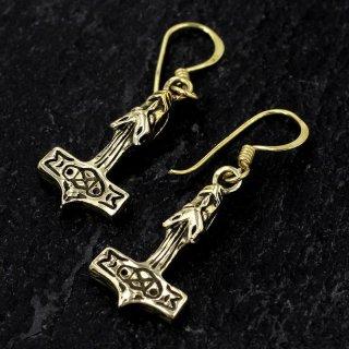 """Thorshammer Ohrhänger """"Mjølnir"""" mit Wolfs-köpfe aus Bronze"""