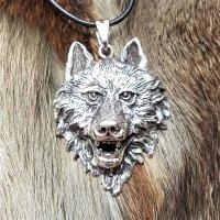 """Wolfskopf Anhänger """"Geri"""" aus Silber"""