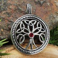 Lebensbaum Anhänger mit rotem Stein aus Edelstahl