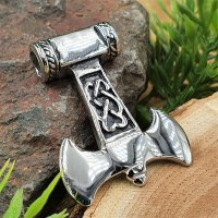 Doppelaxt / Thors Hammer Anhänger aus Edelstahl