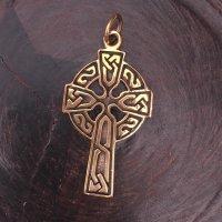 """Keltenkreuz Anhänger """"Comininus"""" mit keltischen Knoten, aus Bronze"""
