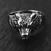 "Wolf Ring ""Hati"" aus Edelstahl 70 (22,3) / 13 US"