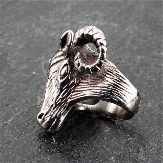 "Ziegenbock Ring ""Tanngnjostr"" aus Edelstahl 72 (23,0) / 14 US"