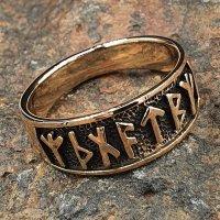 """Wikinger Ring mit Runen """"Futhark"""" aus Bronze"""