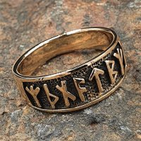 """Wikinger Ring mit Runen """"Futhark"""" aus Bronze 50 (15,9) / 5,3 US"""