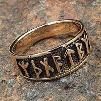 """Wikinger Ring mit Runen """"Futhark"""" aus Bronze 52 (16,6) / 6,1 US"""