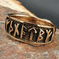 """Wikinger Ring mit Runen """"Futhark"""" aus Bronze 58 (18,5) / 8,4 US"""