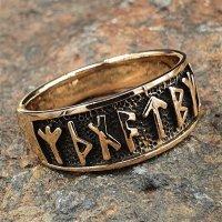 """Wikinger Ring mit Runen """"Futhark"""" aus Bronze 60 (19,1) / 9,1 US"""