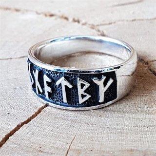 """Wikinger Ring mit Runen """"Futhark"""" aus 925 Sterling Silber"""