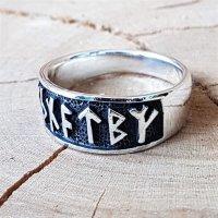 """Wikinger Ring mit Runen """"Futhark"""" aus 925 Sterling Silber 64 (20,4) / 10,7 US"""