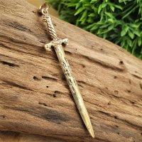 """Schwert Anhänger """"GRAM"""" mit nordischen Runen, aus Bronze"""