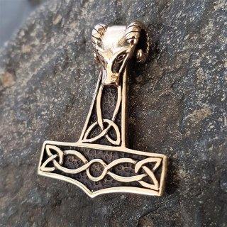 """Thors Hammer """"Tanngnjostr"""" Anhänger aus Bronze"""