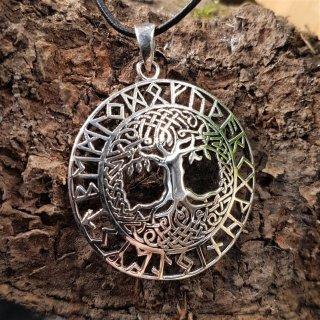 """Yggdrasil Anhänger """"LOKE"""" mit Runen, aus Silber"""