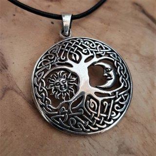 """Weltenbaum Anhänger """"LUNASOL"""" mit Mond & Sonne, aus Silber"""