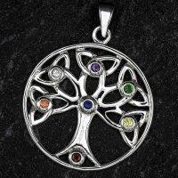 Lebensbaum Anhänger mit bunte Zirkonia Steine, aus Silber