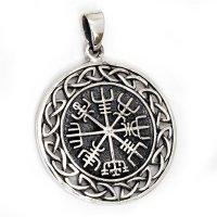"""Vegvisir Anhänger """"VIGFUSSON"""", verziert mit keltischen Knoten, aus 925er Sterling Silber"""