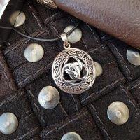 "Odins Horn Anhänger ""THORN"", verziert mit keltischen Knoten, aus 925er Sterling Silber"