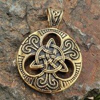 """Keltischerknoten Anhänger """"Abellio"""" aus Edelstahl Goldfarbe"""