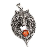 """Wolfskopf """"SKJÖLL"""" Anhänger mit einem Rotem Zirkonia aus Edelstahl"""
