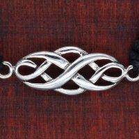 Armband aus Stoff - Größenverstellbar - mit 925er Silberanhänger Keltischer Knoten