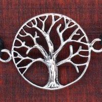 Armband aus Stoff - Größenverstellbar - mit 925er Silberanhänger Lebensbaum