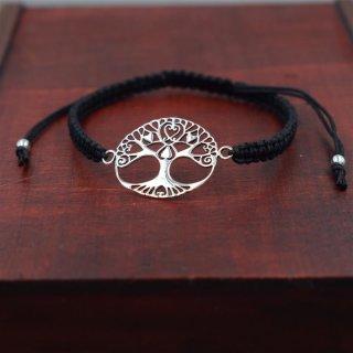 Armband aus Stoff - Größenverstellbar - mit 925er Silberanhänger Yggdrasil