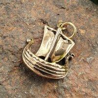 """Wikingerschiff """"Snekkja"""" Bronze Schmuck Anhänger"""