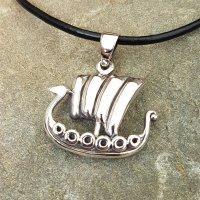 Drachenschiff Anhänger aus 925er Sterling Silber