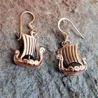 """Drachenschiff """"Hårfagre"""" Ohrringe aus Bronze"""