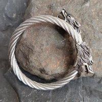 Edelstahl Stahlseil Armband mit Wölfe -  flexibel Stahl