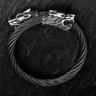 Edelstahl Stahlseil Armband mit Wölfe -  flexibel Schwarz
